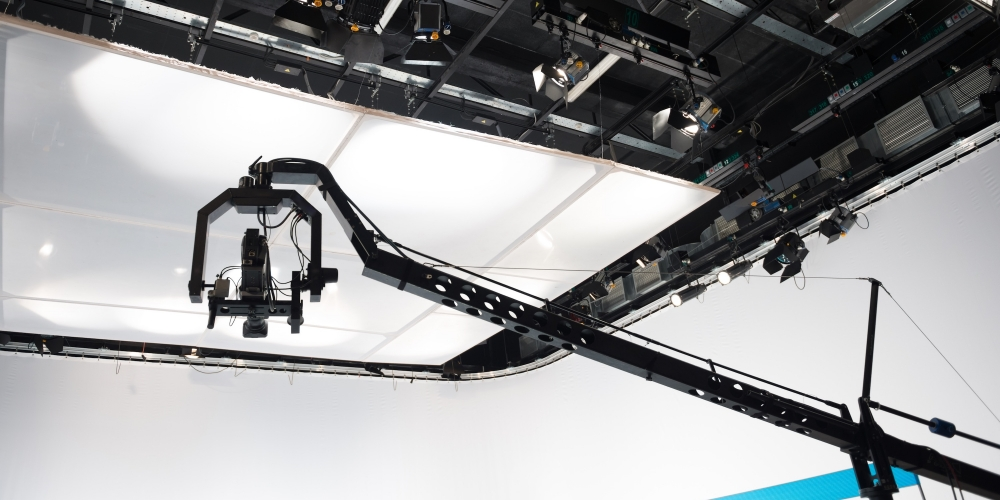 Camera crane in TV studio